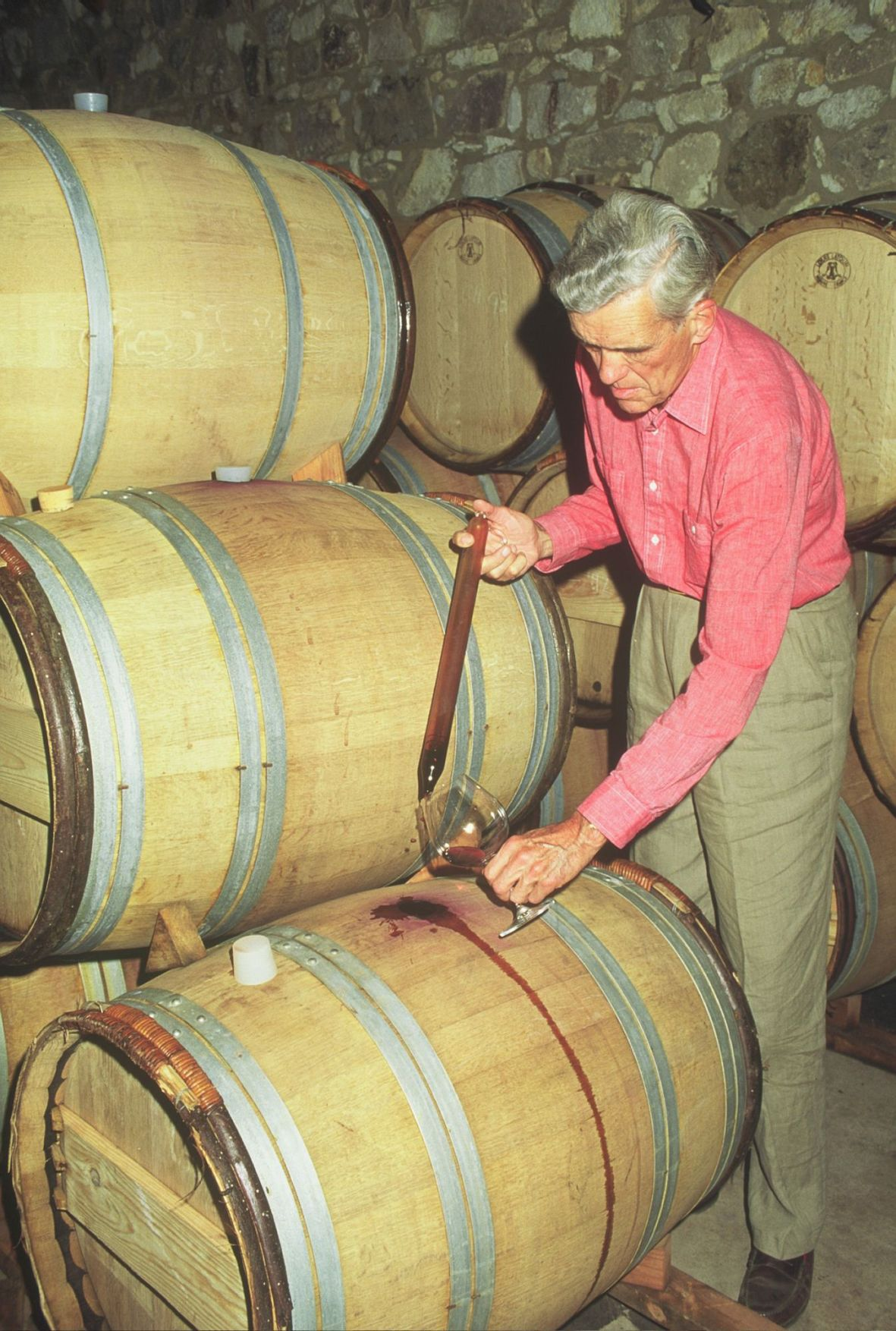 William Seavey in the barrel room of the Seavey Family Vineyard.